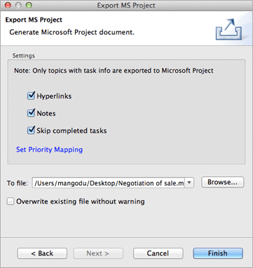 Screenshot of Export Dialog